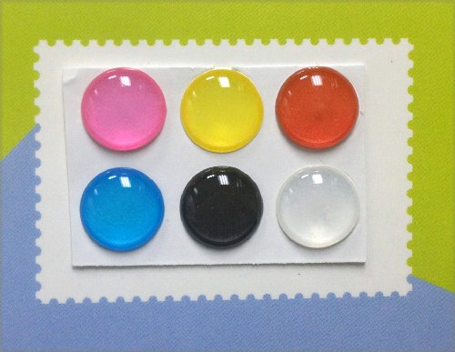 6 Colors 3D Semi-Circular Home Button Stickers for iPhone 5 4/4s 3GS 3G, iPad 2, iPad Mini, iTouch 6 pieces Blue, Black, White, Red, Yellow, Pink **COLORS MAY VARY** (Iphone 3g Decal)