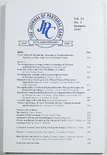 The Journal of Pastoral Care: Volume 51 Number 2, Summer 1997