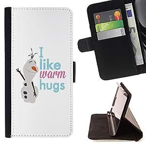 For Apple iPhone SE / iPhone 5 / iPhone 5S Case , Muñeco de nieve texto Invierno Blancanieves- la tarjeta de Crédito Slots PU Funda de cuero Monedero caso cubierta de piel