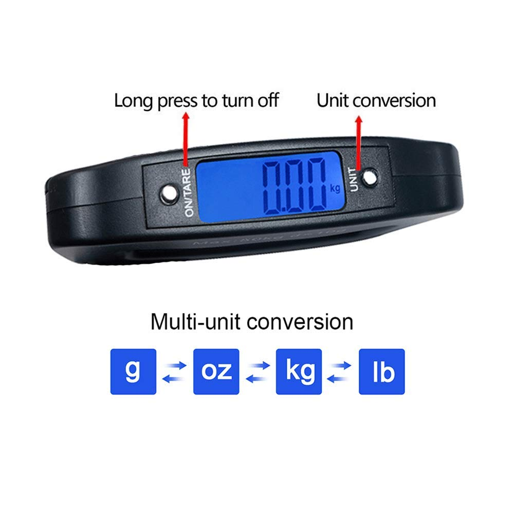 YYGJ Digital Hanging Luggage Scale,Portable Handheld Baggage Suitcase Electronic Scale for Travel Household Fishing and Gift 110lb Black