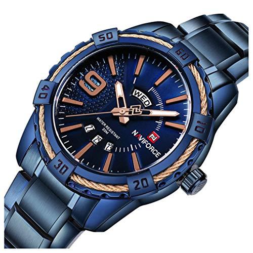 Men's Luxury Analog Day Date Quartz Waterproof Wrist Watches Business Stainless Steel Wrist Watch (Blue) Blue Stainless Steel Watch