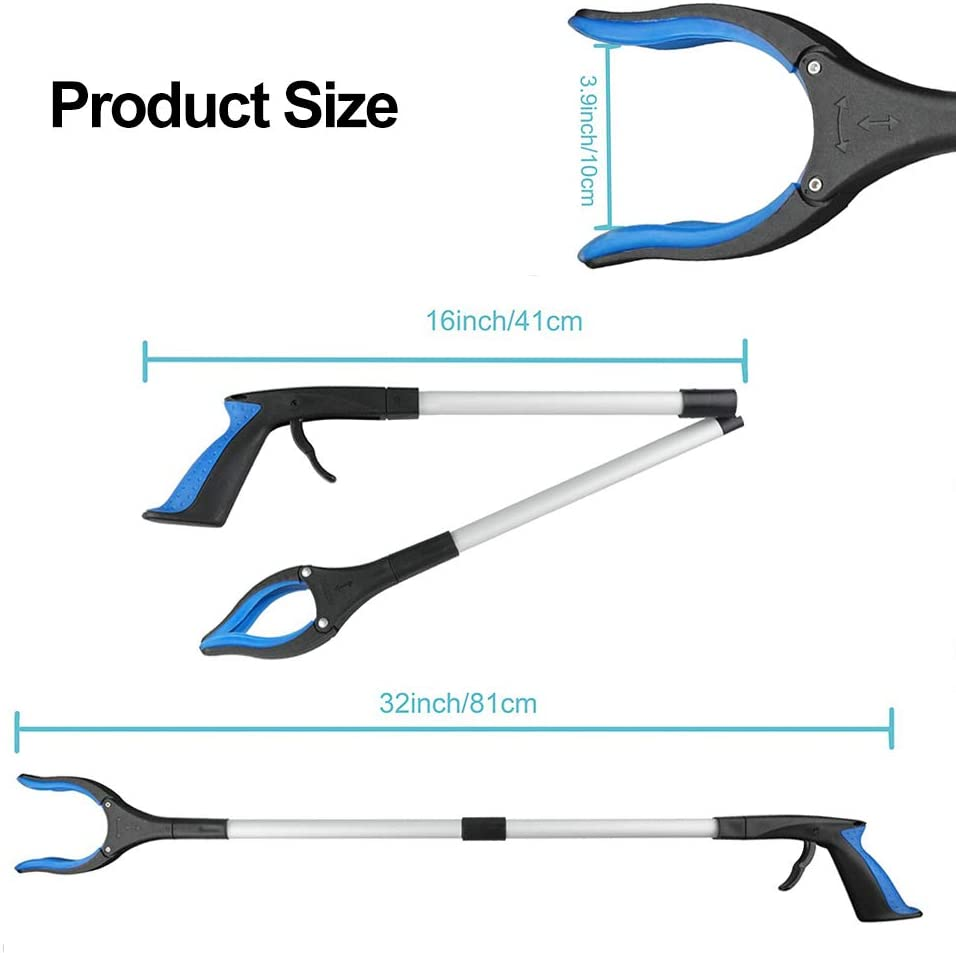 """2 Pack - 32"""" Foldable Reacher Grabber Pickup Tool, Extender Gripper Tool, Long Handy Arm Assist Tool, Flexible Lightweight Mobility Aid Reaching Claw Trash Garbage Picker (2 Pack-S-Blue): Health & Personal Care"""