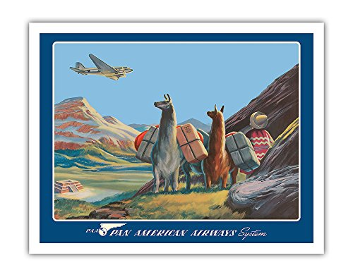 Pacifica Island Art South America - Wings Over the World - Pan American Airways System - Douglas DC-3 - Vintage Airline Travel Poster by Paul George Lawler c.1930s - Fine Art Print - 11in x 14in