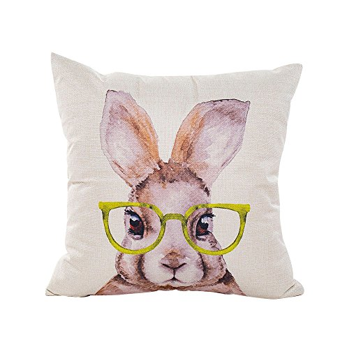 HIKO23 Easter Pillow Case,Vintage Cute Funny Easter Bunny Rabbit Glasses Pillowcases Watercolor Sketch Sofa Decorative