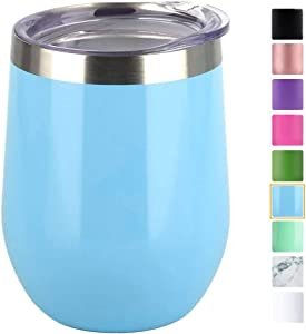 Wine Tumbler with Lid,Double Wall Vacuum Insulated and Stainless Steel Stemless Wine Glass 12oz for Keeping Wine,Coffee,Drinks,Cocktails-Family and Business Gifts