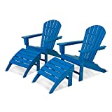 POLYWOOD PWS137-1-PB South Beach 4-Piece Adirondack Chair Set, Pacific Blue