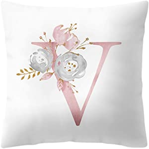 "Peky Throw Pillow Covers, 26 Letters Pillow Case with Flowers Printed, Soft Cushion Pillowcase,Sofa Bedding Car and Home Decor Initial Pillow Cover (18""x18"" / 45x45cm, Letter V)"