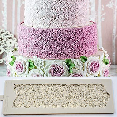 Sugar Rose Mould DIY Wedding Birthday Cake Mold Fondant Molds Silicone Cake Border Brim Decor Mold Cake Embossed Textured Mat Sugar Pastry Gumpaste Embossing Pad 3D Crafts Cake Decorating - Gumpaste Cake Wedding