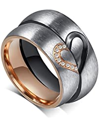 His or Hers (Priced Separate) Korean Style Titanium Stainless Steel Couple Heart in Love Wedding Bands Set Ring with Cubic Zirconia Stone-JCR051