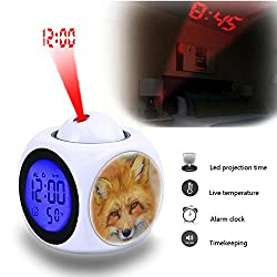 Projection Alarm Clock Wake Up Bedroom with Data and Temperature Display Talking Function, LED Wall/Ceiling Projection,Customize The pattern-546.Photo Painting Red Fox Fuchs Oil Painting Painting