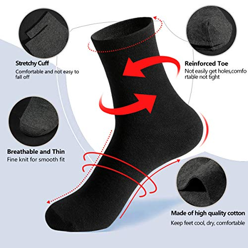J-BOX 5 Pairs Womens Socks Dress Thin Cotton Casual Crew Sock Black High Ankle Solid Color