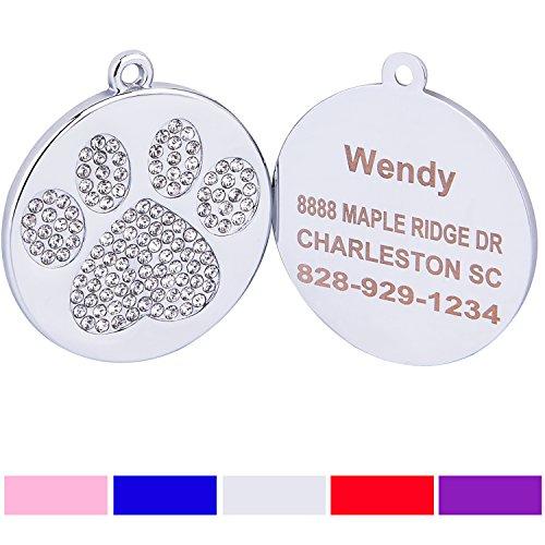 Taglory Stainless Steel Pet ID Tags | Laser Engraved Custom Dog Tags | Crystal Rhinestone Studded Paw Print | 1.0