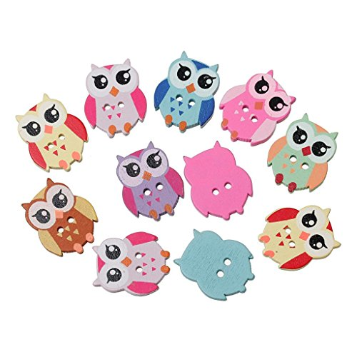 areeratshop Wood Sewing Button Scrapbooking Owl Mixed Two Holes 21mm(7/8