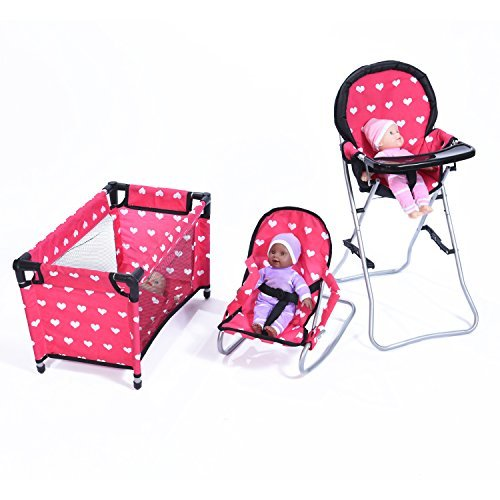 New York Doll Collection Dolls Mega Play set with Dolls High Chair, 3-1 Doll Bouncer and Pack N Play Red-color for 18-inch (Baby Care Center)