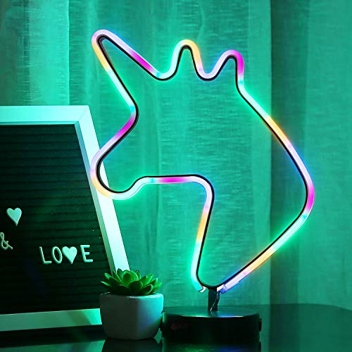 Bolylight Led Neon Light Sign with Base Night Light Glowing Decorative Table Lamp Party Supplies Centerpiece for Room Party Festival Decorations (Multi-Color Unicorn)