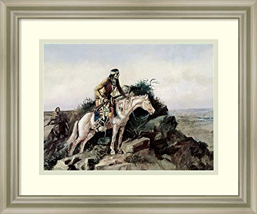 Framed Wall Art Print The Lookout by Charles Russell 17.75 x 14.75 (Lookout Print Framed)