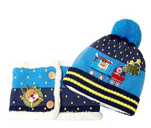 Meykiss Infant Kid Baby Girl Boys Christmas Knitting Beanie Hats with Scarf Set 1# Blue ()