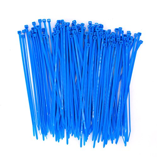 Wide Ocean Sea Blue Cable Ties 8 Inch 150 Pack Strong Heavy Duty Colored Cable Zip Ties-Outdoor, Garden, Office, Swimming Pool, Festivals Lighting Fasten Use