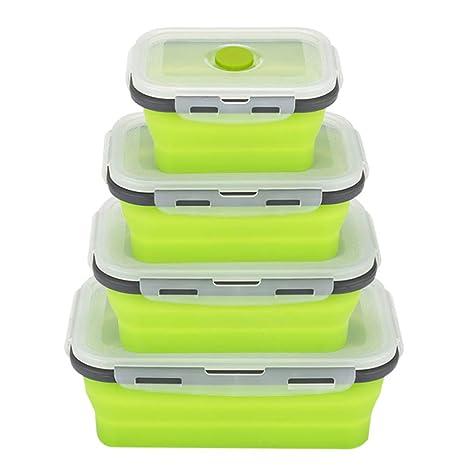 Amazon.com: Cajas de almuerzo plegables de silicona para ...