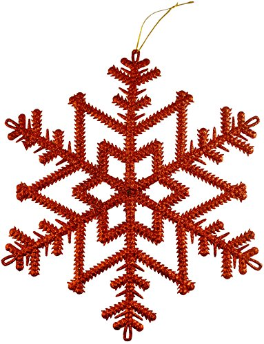 Set of 3-29cm Frosted RED Snowflake Xmas Decoration PM127 ()