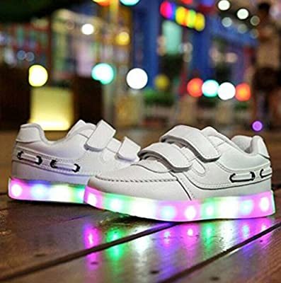 Littlepanda Unisex Kids LED Luminous Hook-and-loop Straps Sports Shoes Flashing Sneakers