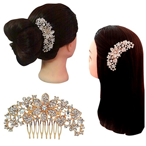 En Vogue Accessories - Vogue Hair Accessories Rose Metal Comb Hair Clip Rose Gold Zircon Comb Clip Gold