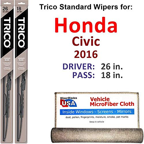 Wiper Blades for 2016 Honda Civic Driver & Passenger Trico Steel Wipers Set of 2 Bundled with Bonus MicroFiber Interior Car Cloth