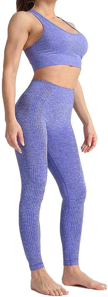 Yying Conjunto Yoga 2piezas Ropa Fitness Mujer Ropa Deportiva Leggings Sin Costuras+Sujetador Deportivo Push Up Acolchado Conjuntos Gimnasio Trajes Deportivos