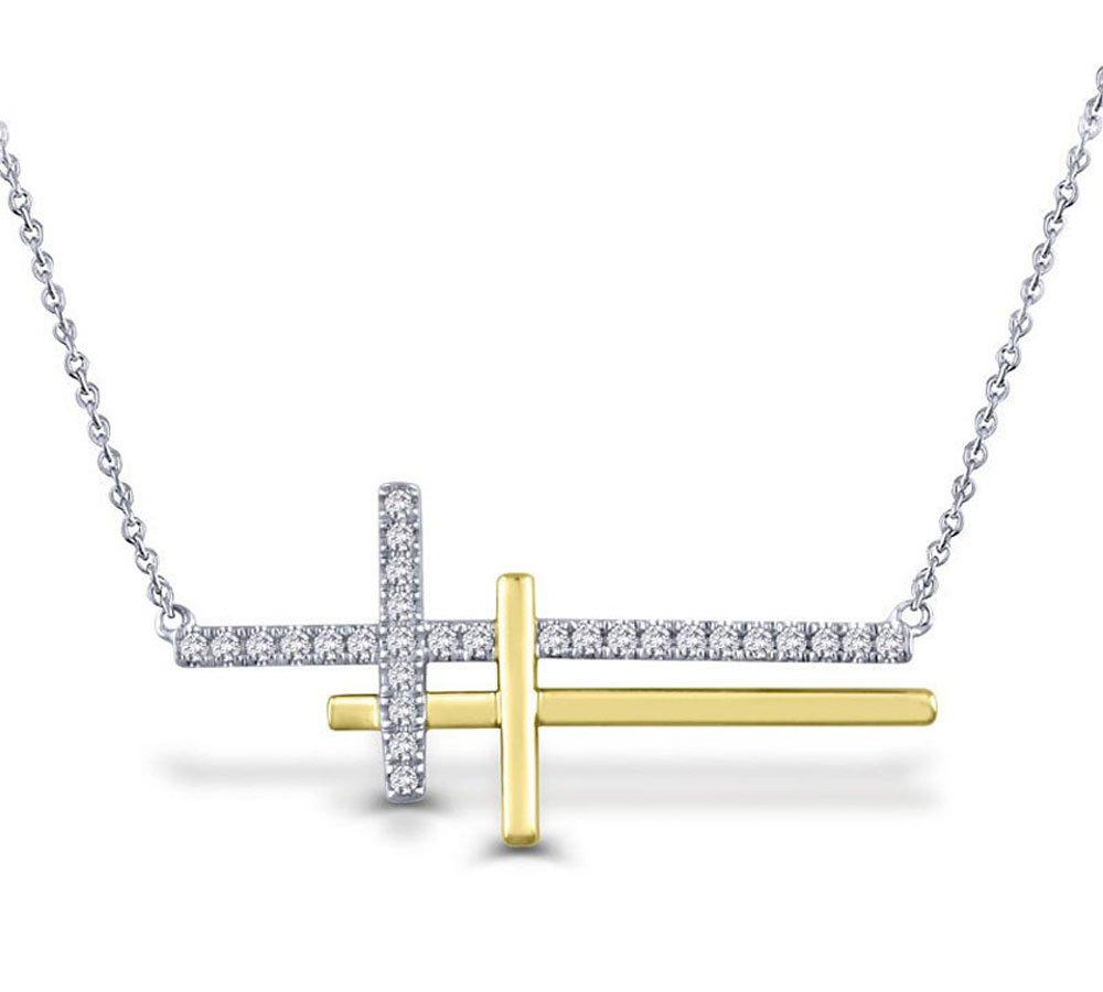 1/5 CT. T.W. White Natural Diamond Double Sideways Cross Necklace in 10K Two-Tone Solid Gold