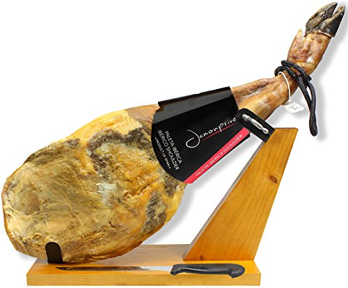 Iberico Ham (shoulder) Grass-fed Bone in from Spain 10.6 - 12 lb + Ham Stand + Knife | Jamon Iberico Pata Negra All Natural with Mediterranean Sea Salt & NO Nitrates or Nitrites by Jamonprive