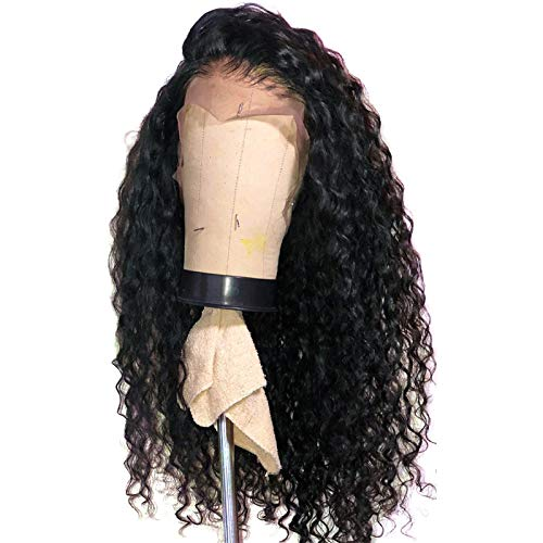 RIKA HAIR 150% Density Deep Curly Lace front Human Hair Wigs for Black Women Brazilian Virgin Hair Glueless Wigs Natural Black on Sale (18 inch, Lace Front)]()