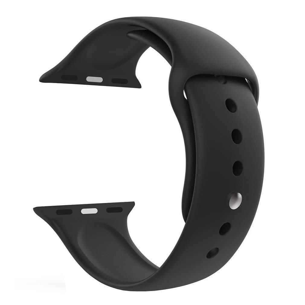 Tingtong Silicone Sport Strap Band Compatible with Apple Watch Series 2 (42mm, Black)