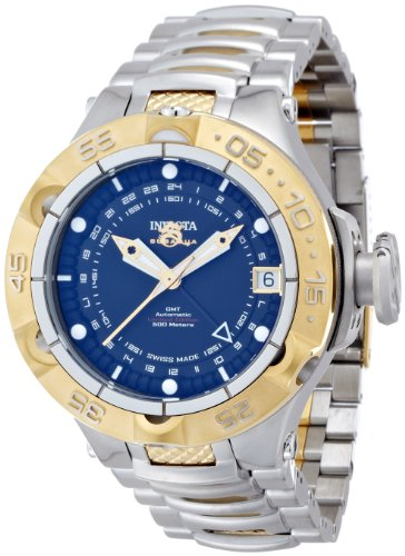 Invicta 12874 Mens Subaqua GMT Automatic Stainless Steel Case and Bracelet Black Tone Dial Watch