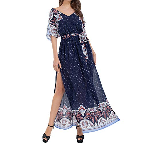 Print Tie Waist Dress - JTANIB Women's Boho V-Neck Split Vintage Print Tie-Waist Beach Party Maxi Dress