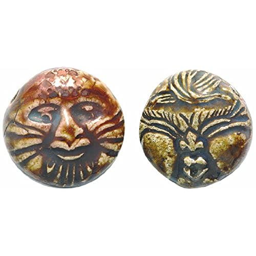 Ceramic raku amazon shipwreck beads 22mm peruvian hand crafted ceramic raku glazed double sided wind pendants brown 3 per pack aloadofball Gallery