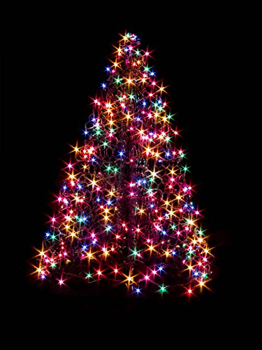 4 ft. Indoor/Outdoor Pre-Lit LED Artificial Christmas Tree with Green Frame and 240 Multi-Color Lights by Crab Pot Trees