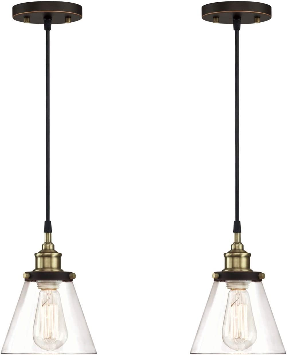 Gruenlich Pendant Lighting Fixture for Kitchen and Dining Room, Hanging Lighting Fixture, E26 Medium Base, Metal Construction with Clear Glass, Bulb not Included, 2-Pack
