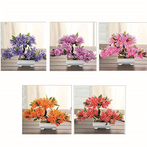 TRIEtree Artificial Bonsai, 2Pcs Plastic Mini Creative Bonsai Tree Flower Potted for Office Home Living Room Table Decor by TRIEtree (Image #4)