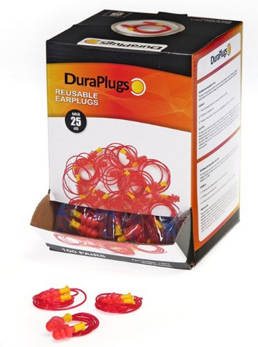 Liberty DuraPlug Corded Disposable Reusable Earplug with 25 dB NRR (Case of 100 Pairs) by Liberty Glove & Safety