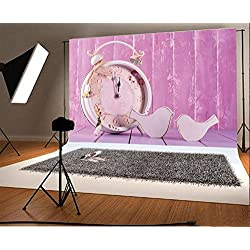 Laeacco 10x6.5ft Vinyl Photography Backdrop Pink Wooden Wall and Wood Floor Vintage Clock with Decorative Birds Scene Photo Background Children Baby Adults Portraits Backdrop