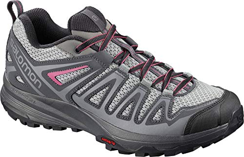 Salomon Women's X Crest Hiking Shoes, Alloy/Ebony/Malaga, 9 US