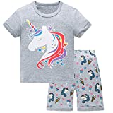 Pajamas for Girls 4T Cotton Shorts Kid Unicorn Clothes Summer 2-Piece PJS Sleepwear Set