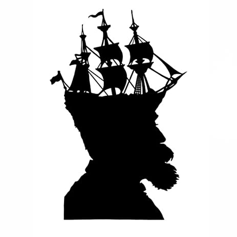 Captain nautical ship silhouette print art wall decor black and white pirate