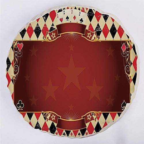 (YOUWENll Round Decorative Throw Pillow Floor Meditation Cushion Seating/Casino Inspired Checkered Framework Stars Swirls Vintage Print Decorative/for Home Decoration 17