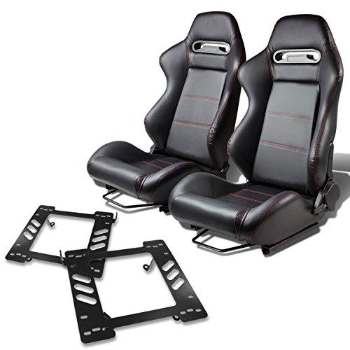Pair of RSTRPVCBK Racing Seats+Mounting Bracket for Jeep Wrangler (Racing Seat Mounting Brackets)