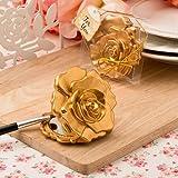 Ornate Matte Gold Rose Design Compact Mirror , 40