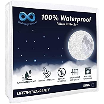 Everlasting Comfort 2-Pack King Size 100% Waterproof Pillow Protector - Hypoallergenic Pillow Covers - Breathable Membrane Lifetime Replacement Guarantee