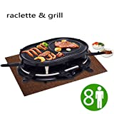 New Black Electric Raclette Grill Oval 1200W Party Cooktop Non Stick