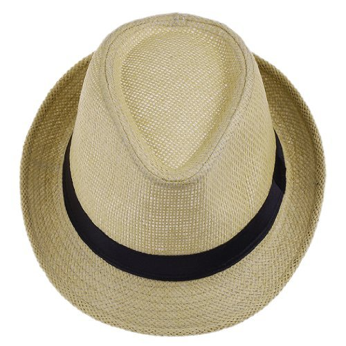 Bigood(TM) Women Fedora Trilby Beach Sun PP Braid Straw Panama Hat Beige
