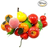 50 pcs Mini Artificial Fruit Simulation Fake Fruit for Home Kitchen Cabinet Decoration Photography Props Cognitive Toys
